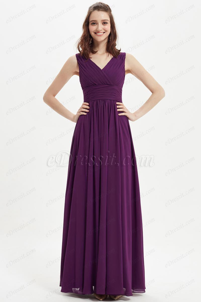 eDressit SexyV-Cut Purple Long Wedding Bridesmaid Dress (07215506)