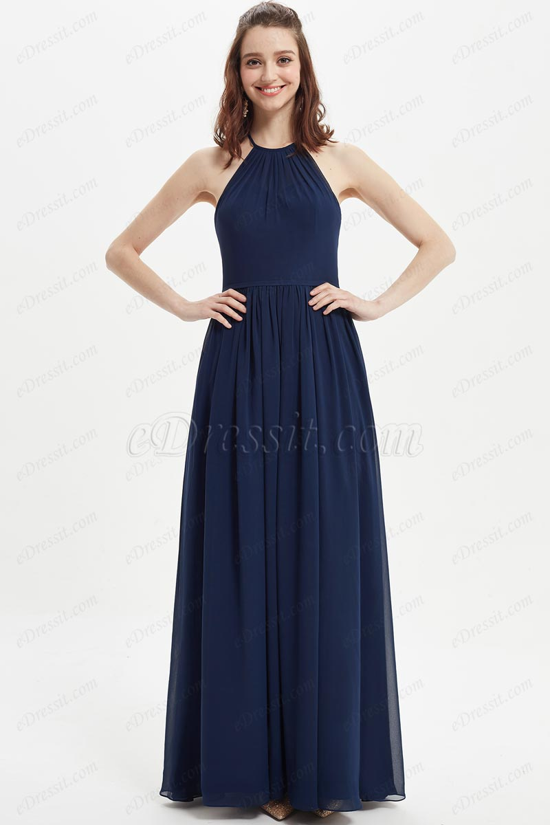 eDressit Blue Halter Open Back Wedding Bridesmaid Dress (07215705)