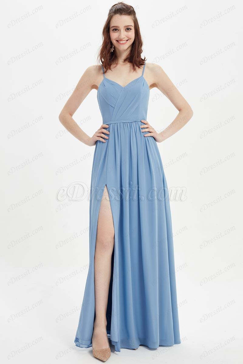 eDressit Sexy Blue Spaghetti V-Cut High Slit Ball Bridesmaid Dress (07216532)