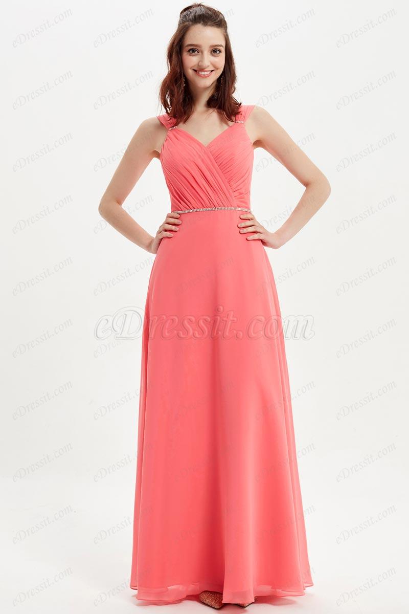 eDressit Sexy V-Cut Straps Beads Waistbelt Bridesmaid Dress (07216157)