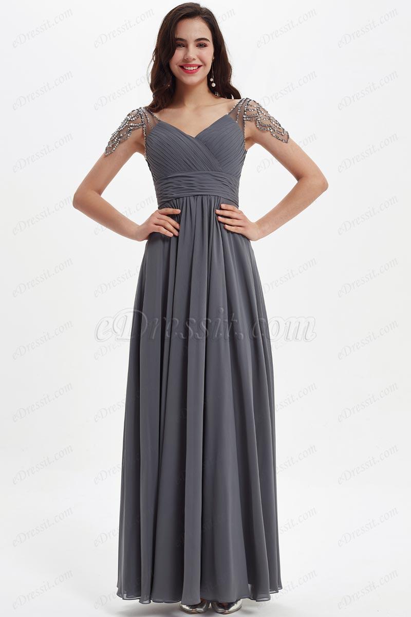 eDressit Grey Shiny Beads Cap Sleeves V-Cut Bridesmaid Dress (07211608)
