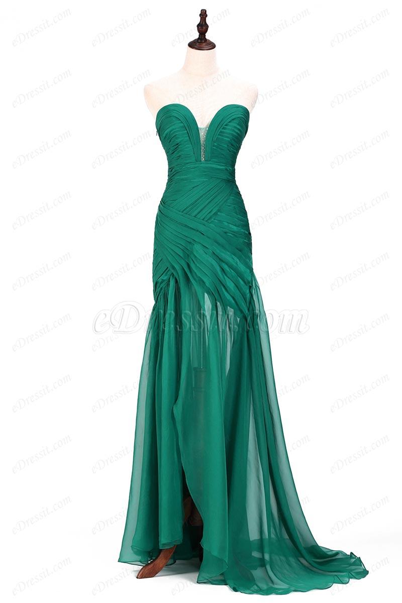 eDressit Robe de Bal Verte Plis Sans Bretelle (00120504)