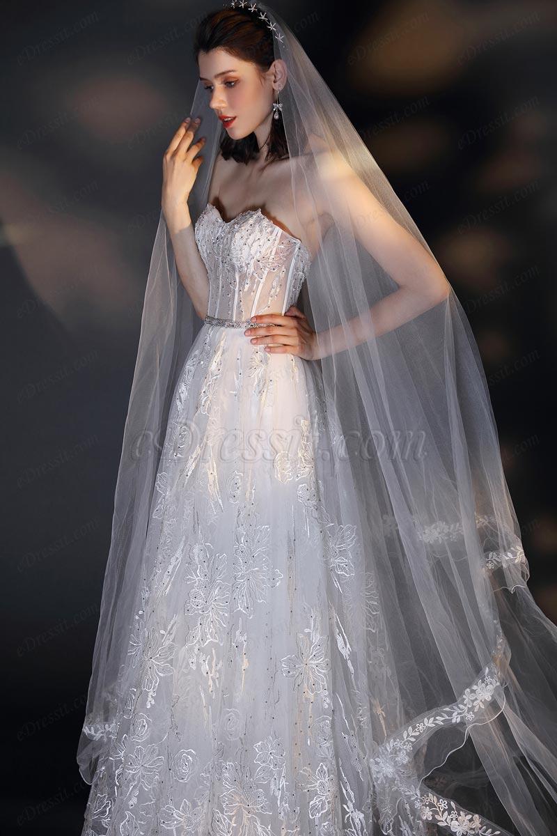 Милая кружева с длинным вуалью белое тюль свадебное платье (01202007)