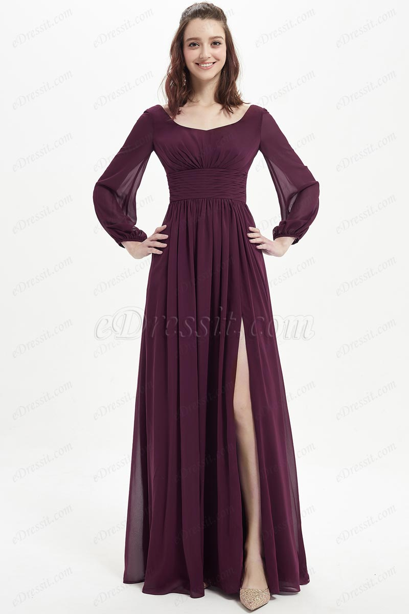 eDressit Burgundy Boat Neckline Long Sleeves Bridesmaid Dress (07214517)