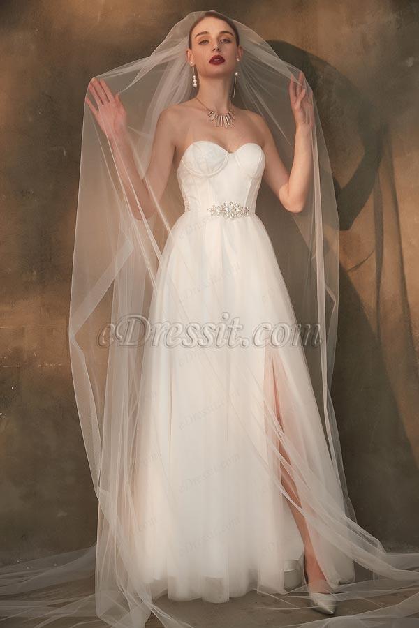 Edressit White Corset Sweetheart Slit Tulle Wedding Bridal Dress 01200807,Nursing Dresses For Wedding Guest