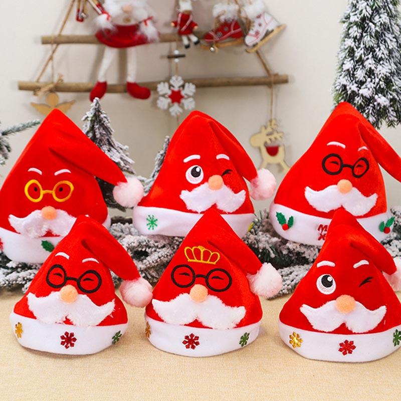 Red Velvet children embroidered Santa Claus Christmas Hat (TF0004)