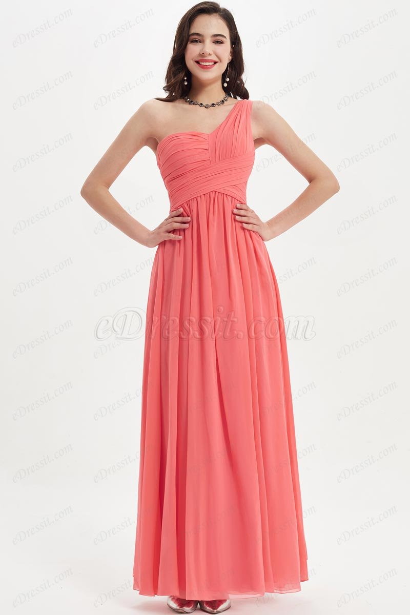 eDressit One Shoulder Coral Empire Long Bridesmaid Dress (07210657)