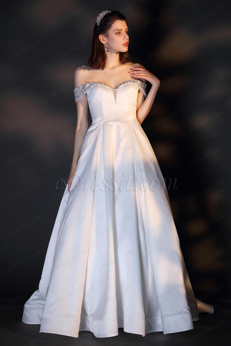 eDressit Freischulter V-Schnitt Perlen Hochzeit Brautkleid(01201307)