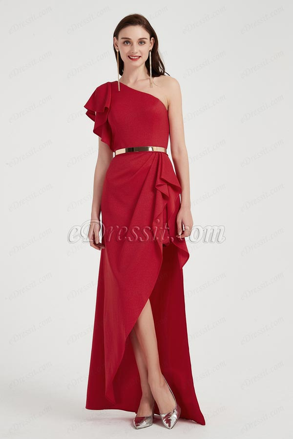 Красное вечернее платье с разрезом на одно плечо (00201602)