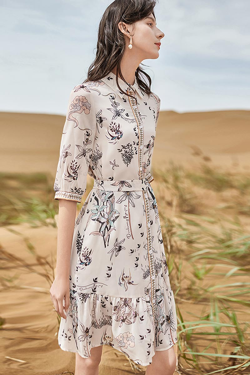 eDressit Bedruckte Midi-Kleider mit halben Ärmeln Blumenkleid(T060002)