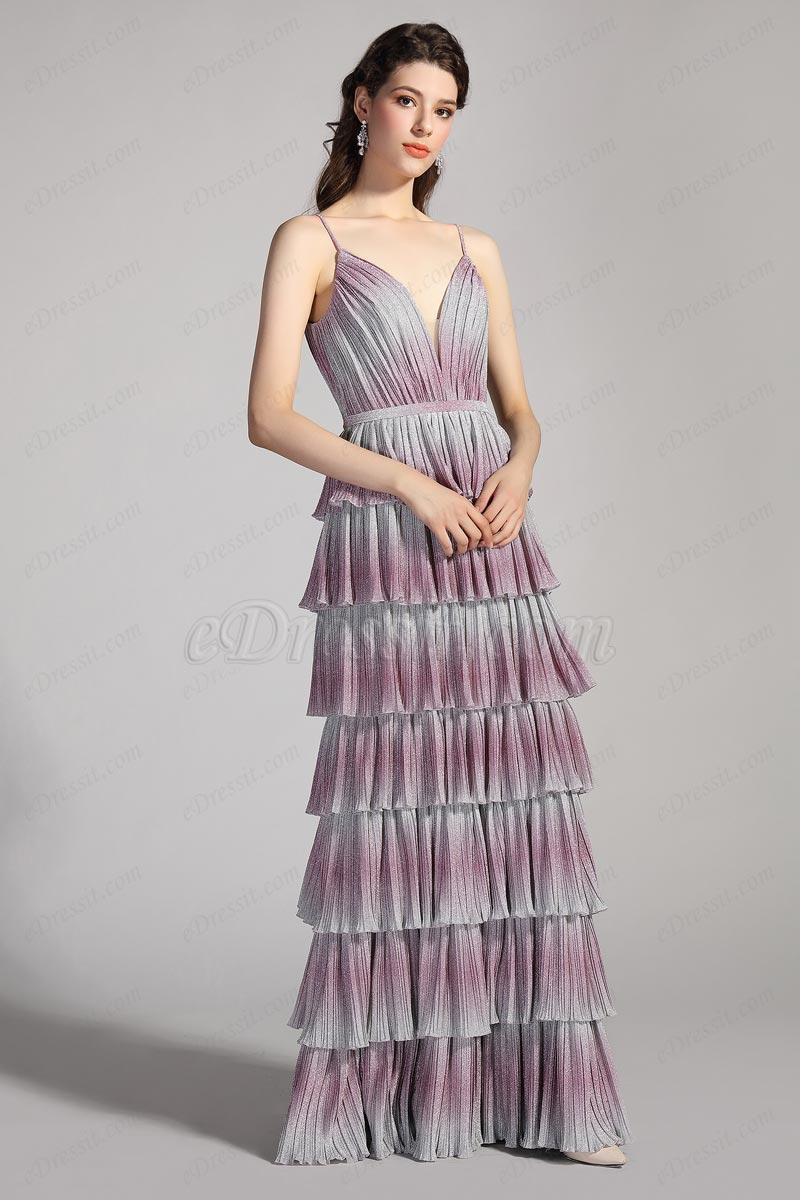 Вечернее платье для граффити с V-образным вырезом спагетти (00206256)