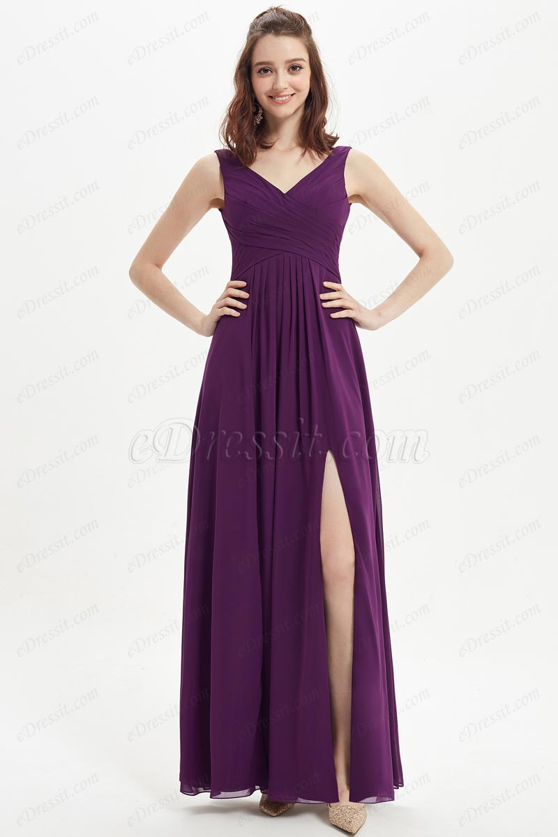 eDressit Purple V-Cut High Slit Chiffon Wedding Bridesmaid Dress (07215406)