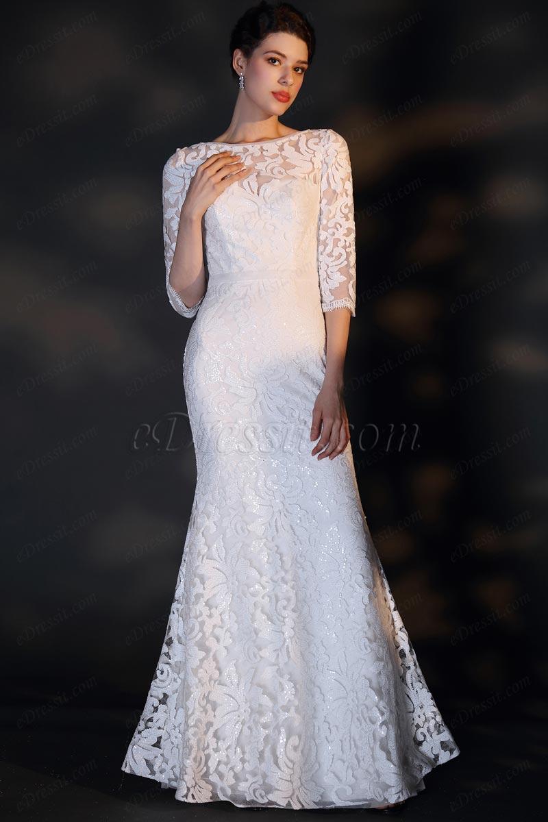 eDressit Белое кружевное свадебное платье с вышивкой (01201407)