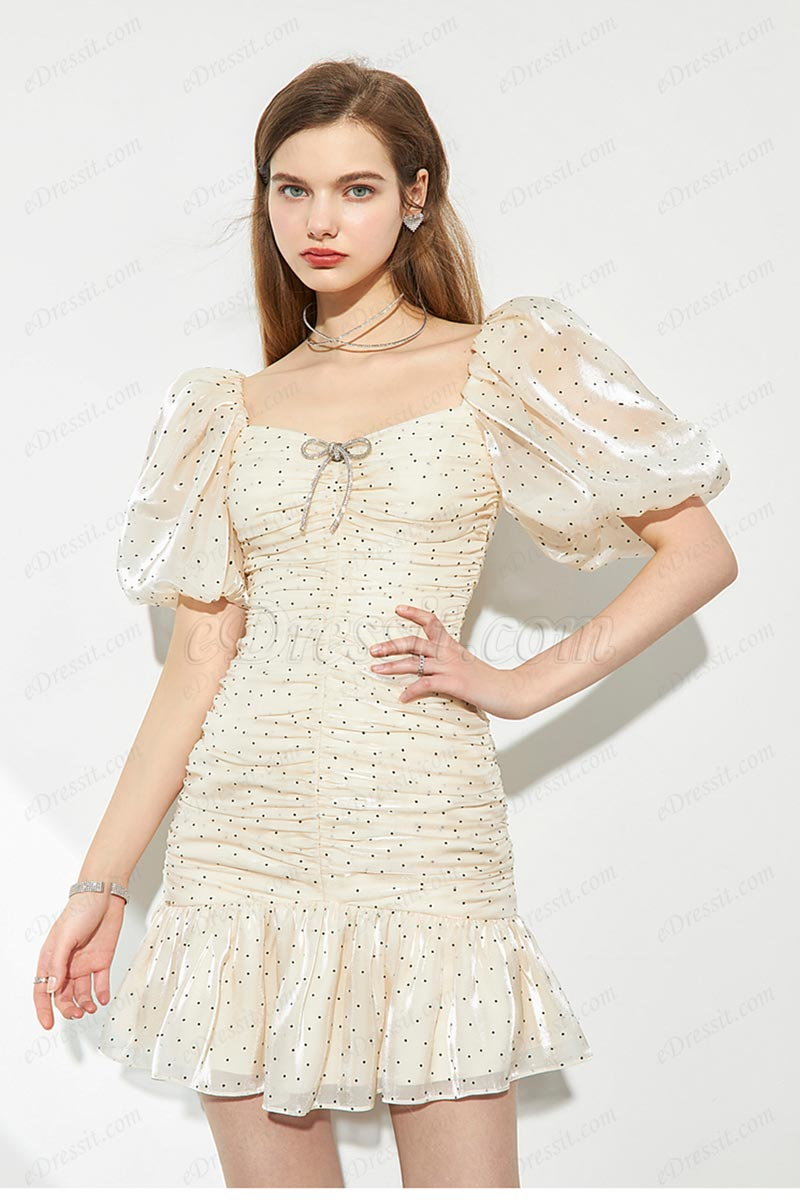 New Short Sleeves Ruffles Mini Dress Summer Dress for Women (T360008)