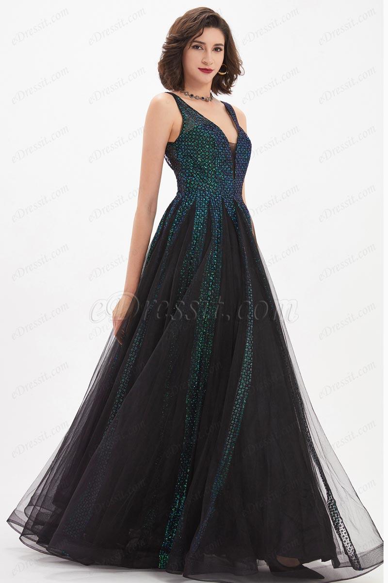 eDressit Glänzend grün&schwarz V-Schnitt Wunderschön Kleid (02210700)