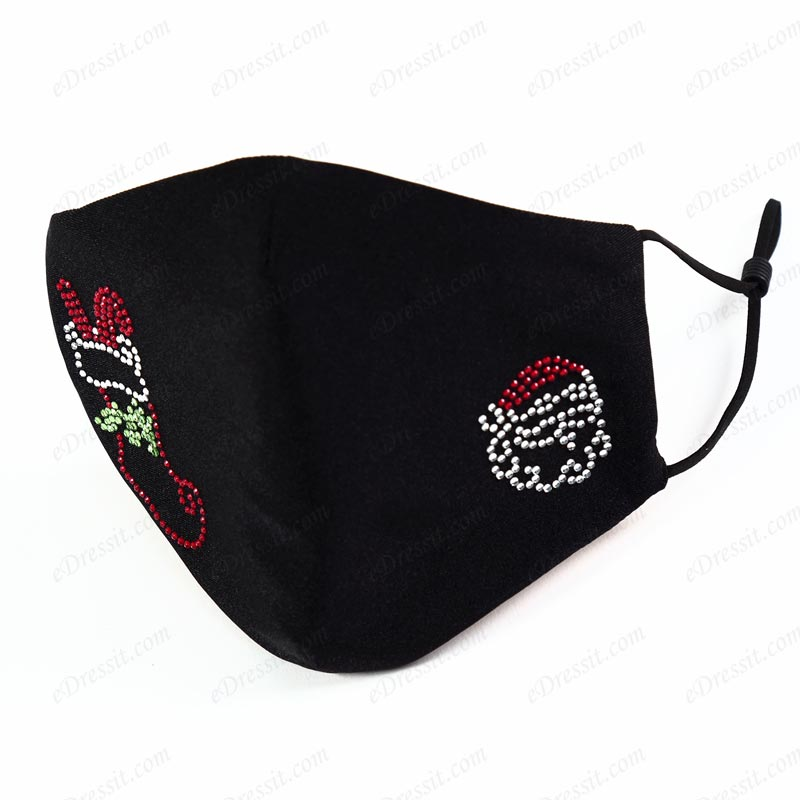 Black Christmas Protective Dust Washable Cloth Face Mask with Pattern (Mask019)