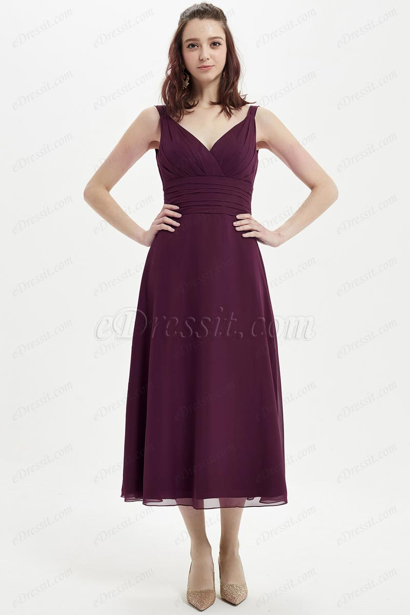 eDressit Nice V-Cut Tea Length Wedding Bridesmaid Dress (07214317)