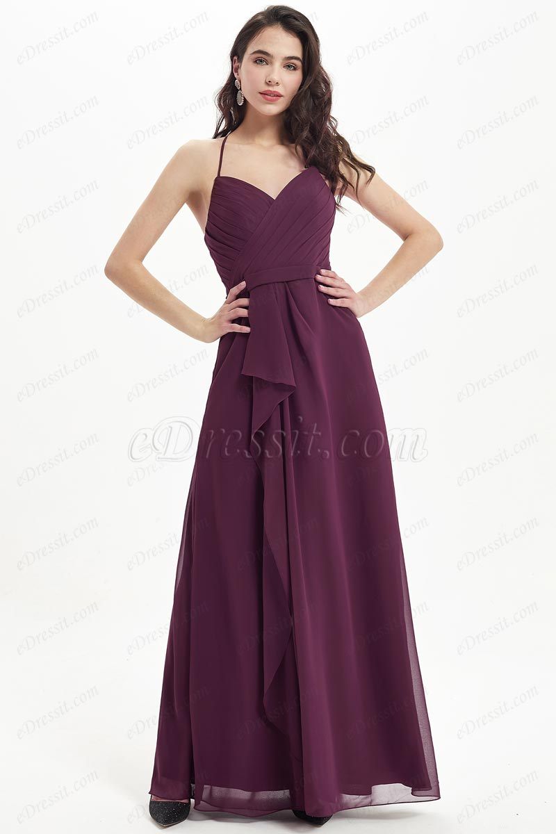 eDressit Burgundy Halter Spaghetti Wedding Bridesmaid Dress (07214617)