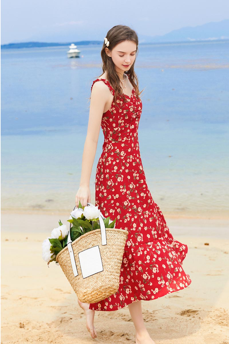 New Floral Print Summer Beach Dress Chiffon Party Gown (T061006)
