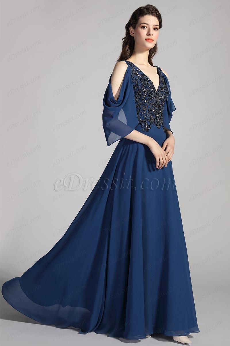 eDressit Blaue V-Hals einzigartig Ärmel Stickerei Ball Kleid(26201605)