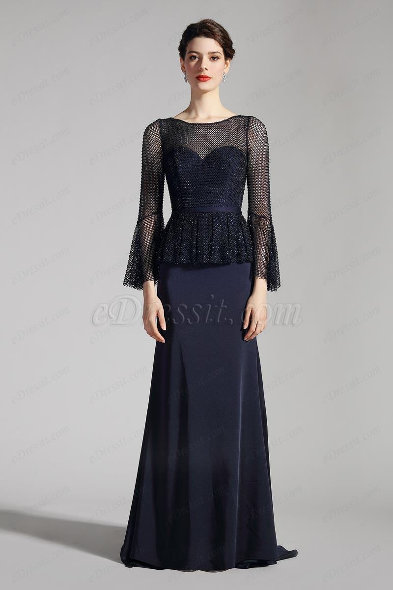 eDressit Темно-синее вечернее платье(26201705)
