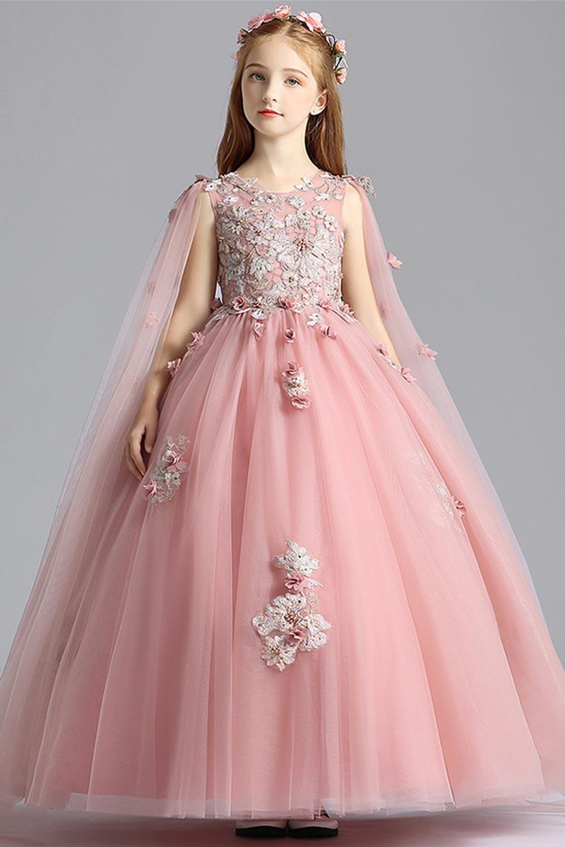 eDressit Pink Long Sleeves Lace Tulle Flowergirl Dress (27210101)