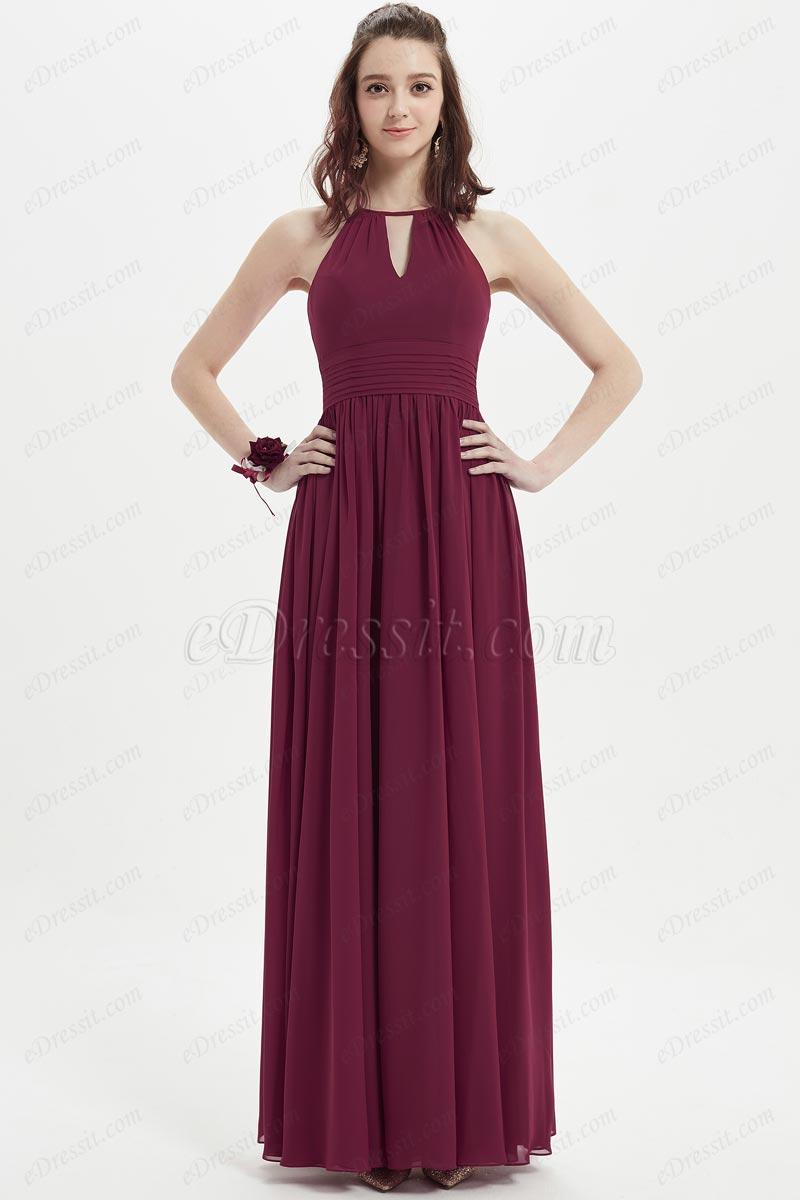 eDressit Burgundy Halter Open Back Long Bridesmaid Dress (07213817)