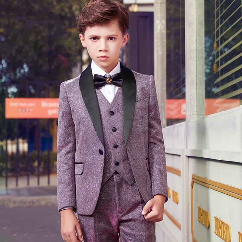 New Notch Lapel 5 Pieces Ticket Pocket Boys Suit (T16021)