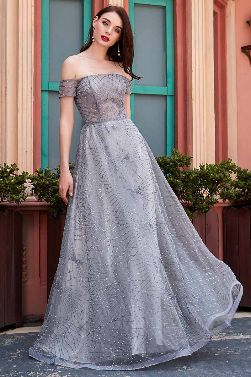 eDressit New Grey Off Shoulder Sequins Long Party Ball Dress (02201508)