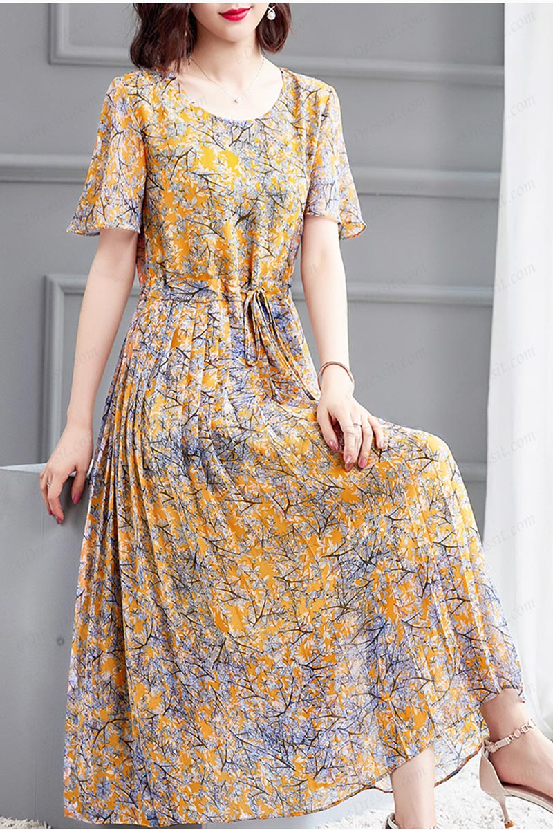 eDressit Yellow Floral Bohemian Summer Party Maxi Holiday Dress (T061024)