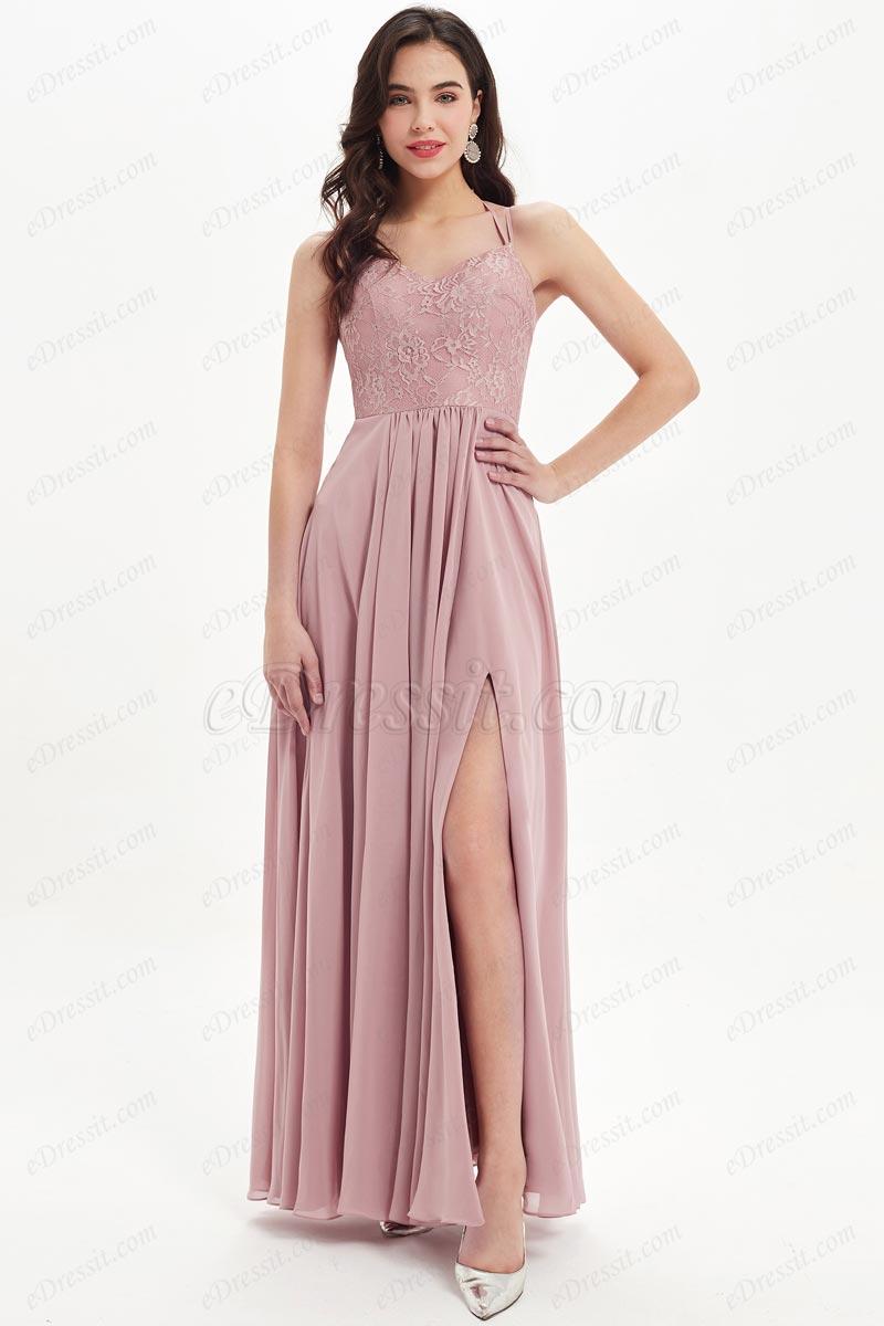 eDressit Lovely Halter High Slit Lace Bridesmaid Dress (07214801)
