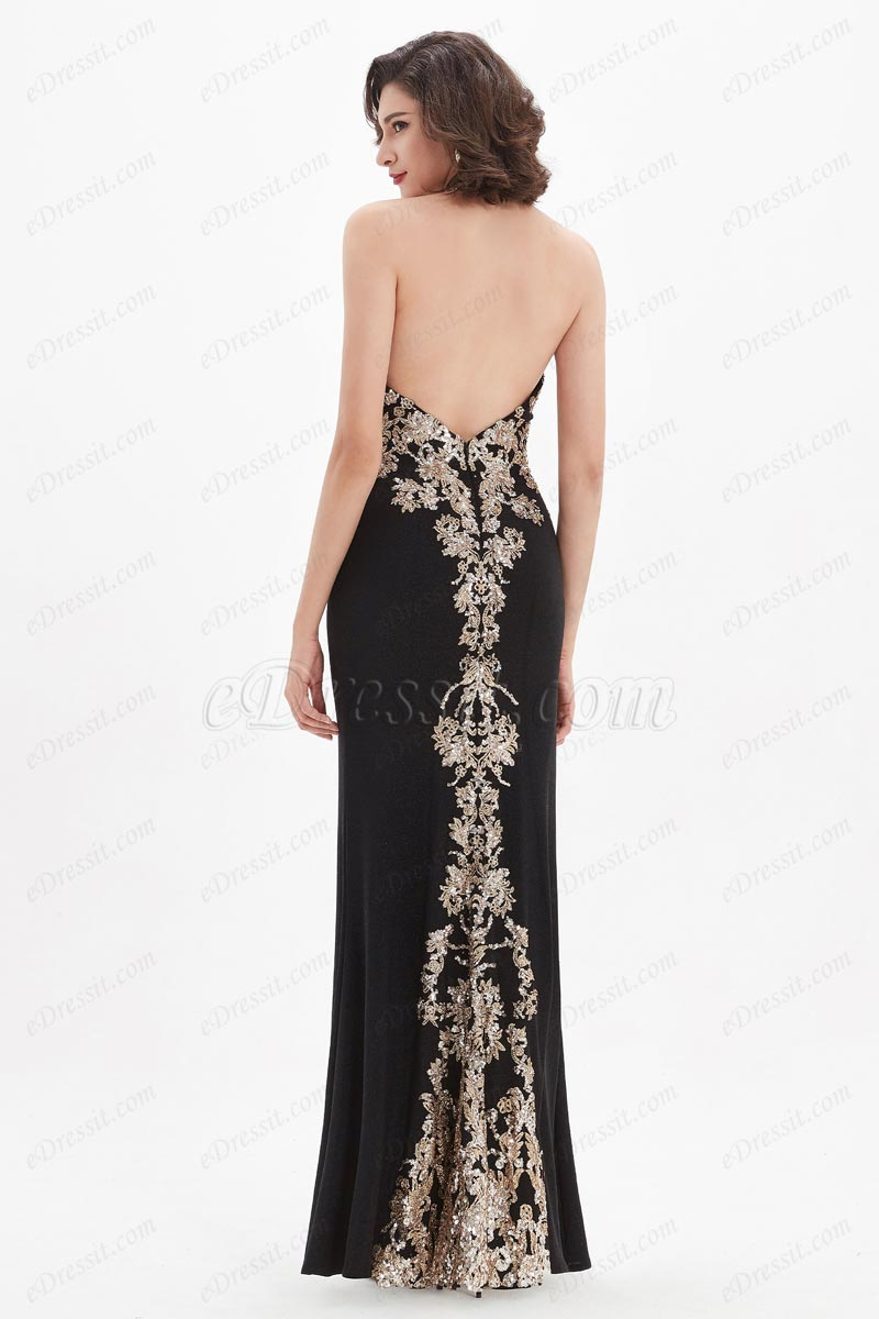 eDressit V-Cut Gold Embroidery High Slit Party Evening Dress (00210200)