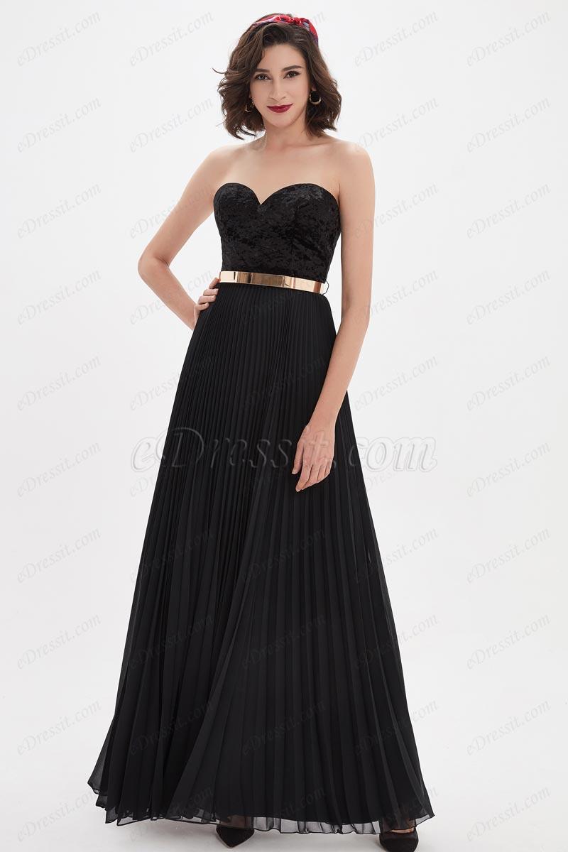 eDressit Robe de Bal Noire Avec L'encolure Cordiforme (00210500)