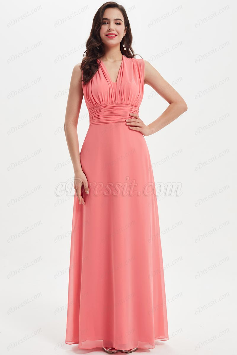 eDressit Sexy Coral V-Cut Cross Open Back Bridesmaid Dress (07212757)
