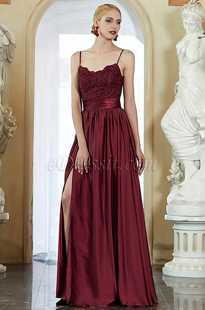 eDressit New Burgundy Spaghetti Straps Slit Evening Prom Dress (00202317)