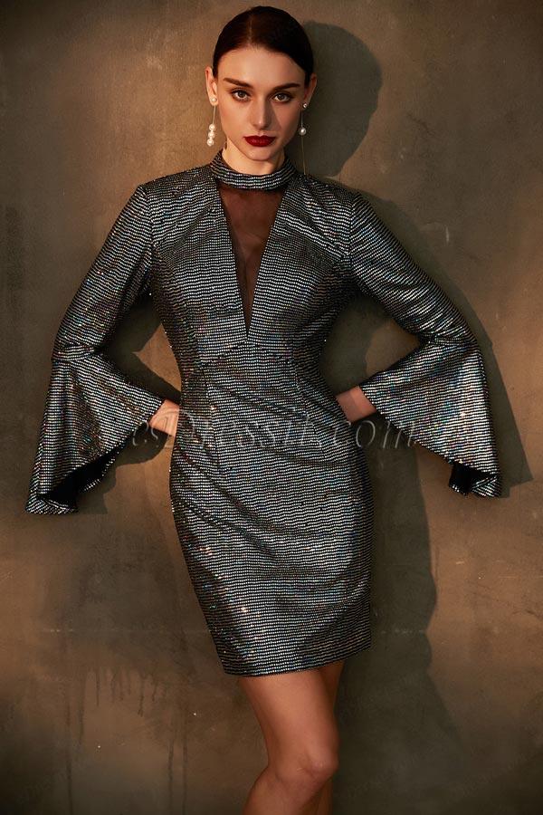 eDressit Fashion High Neck Trumpet Sleeves Short Dress (03200605)