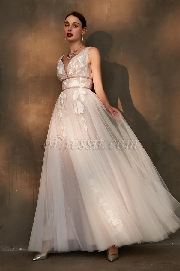 Sexy Deep V-Cut Lace Applique Tulle Wedding Party Dress-eDressit (01200246)