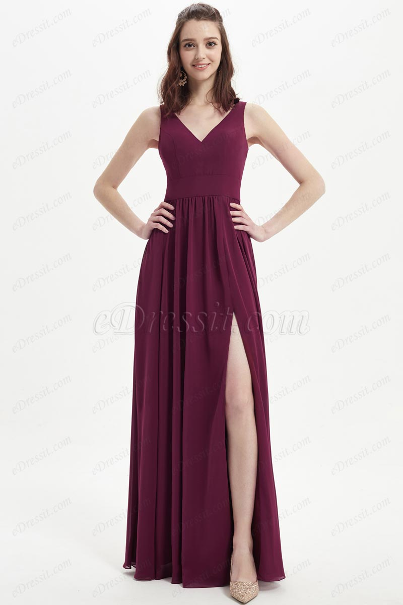 eDressit Burgundy V-Cut High Slit Long Bridesmaid Dress (07217317)