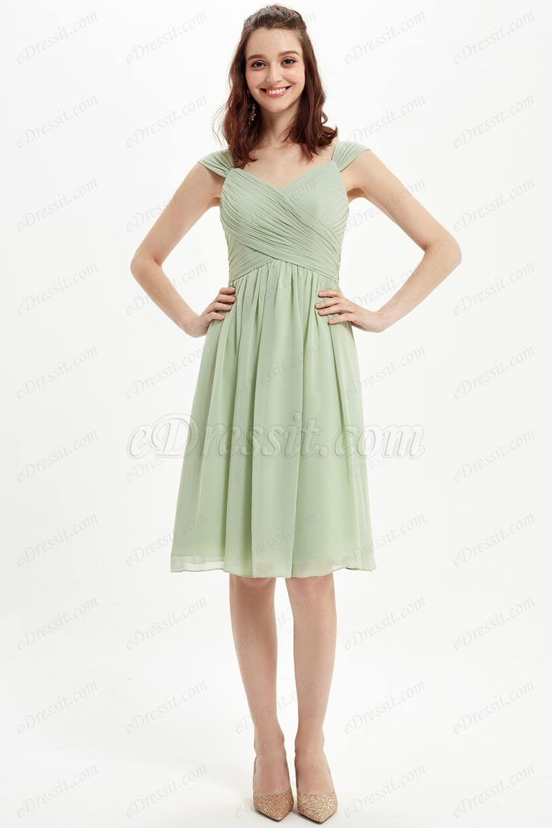 eDressit Green V-Cut Straps Short Party Cocktail Bridesmaid Dress (07216304)