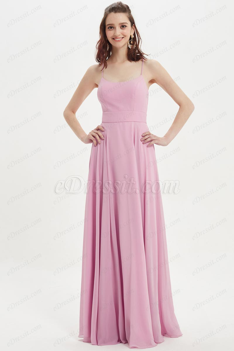 eDressit Sexy Spaghetti Straps Pink Long Bridesmaid Party Dress (07218001)