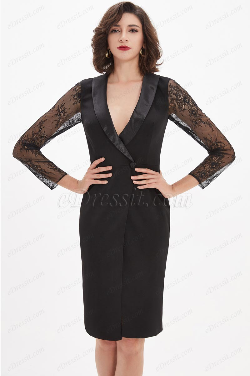 eDressit Black Lace V-Neck Party dress / Day wear (03210200)