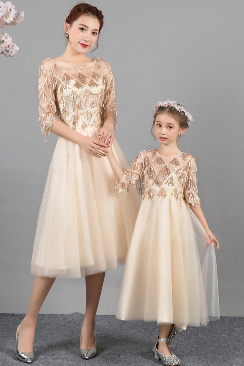 Neue Champagner Mama und Mich passendes Kleid zum Party (T400114)