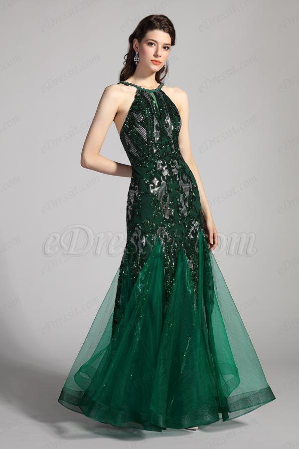 eDressit Grünes Halfter Glänzende Pailletten Tüll Abendkleid(00205504)