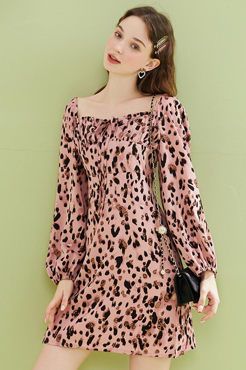 New Long Sleeves Leopard Mini Dress Summer Chiffon Dress (T061004)