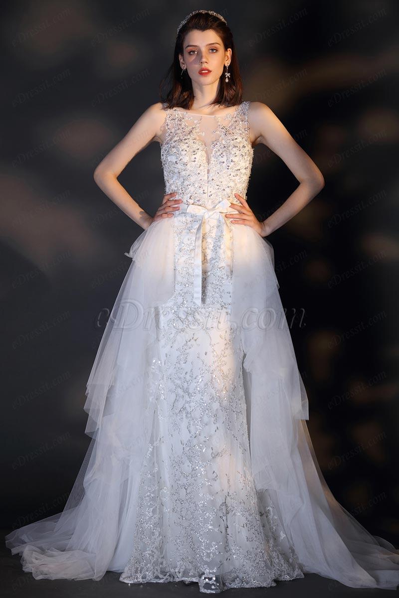 eDressit Glänzende Perlen Pailletten Hochzeit Brautkleid(01201507)
