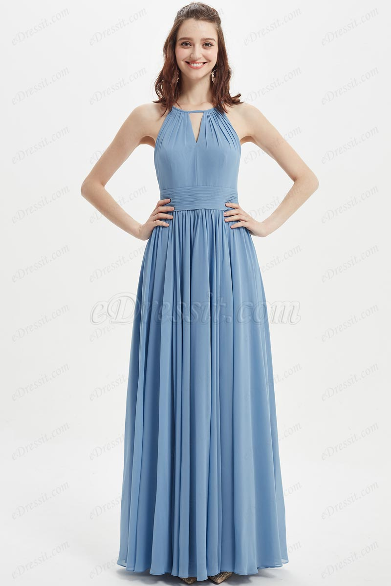 eDressit  Sexy Halter Blue Chiffon Bridesmaid Party Dress (07216732)