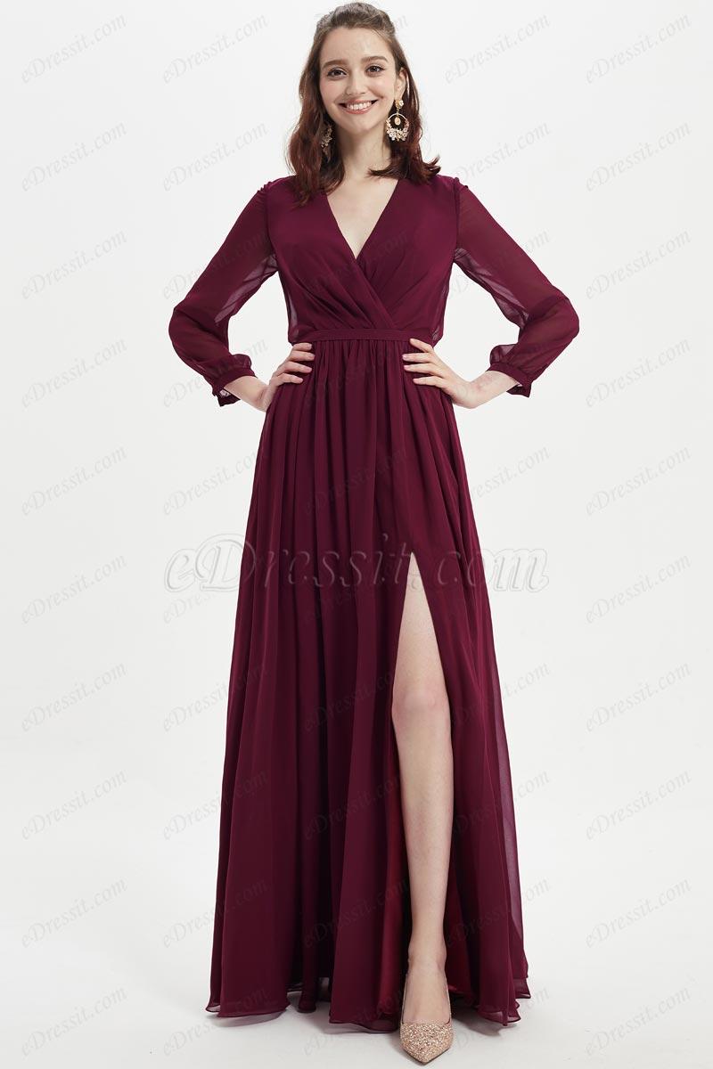 eDressit Burgundy V-Cut Long Sleeves Wedding Party Dress (07217817)