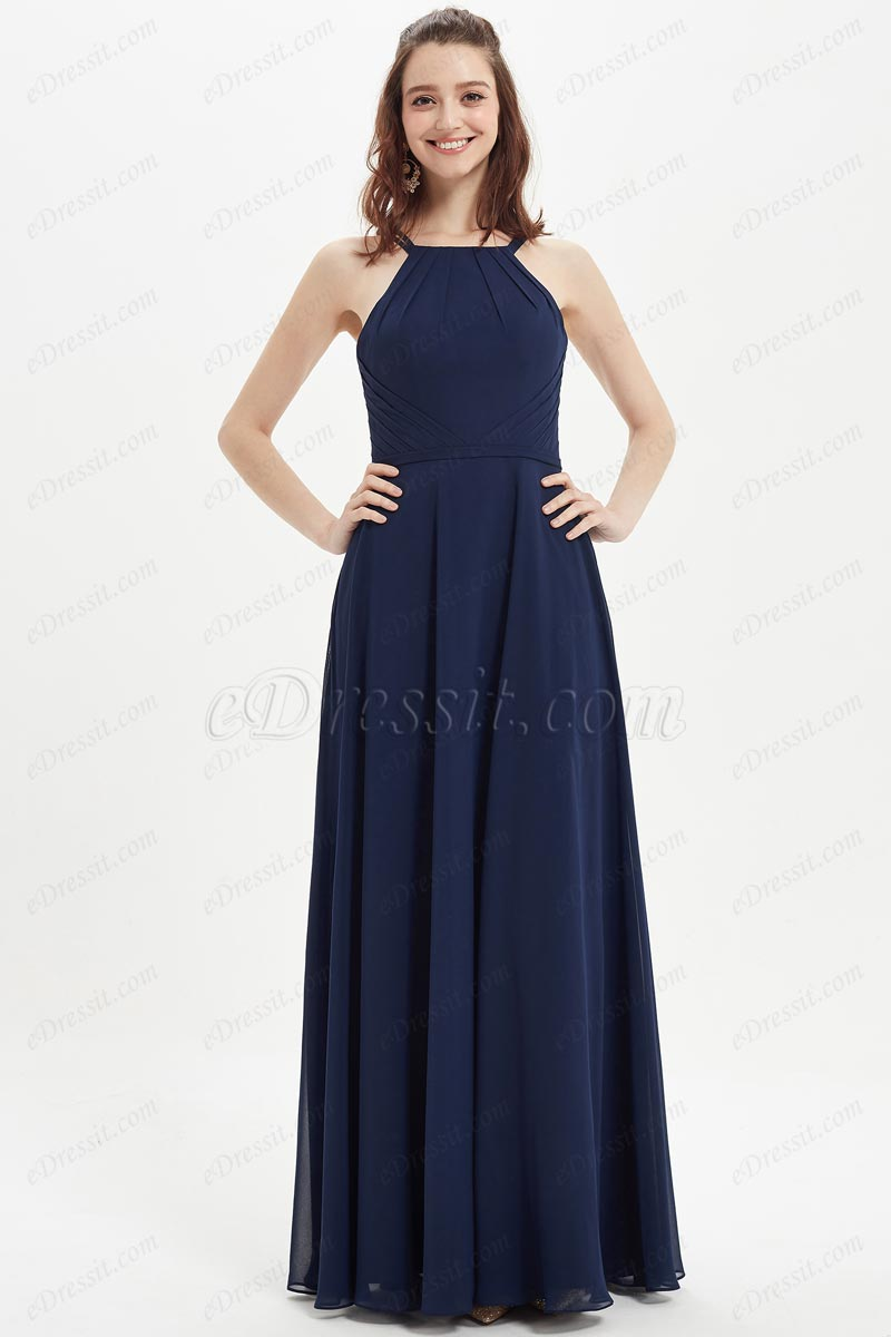 eDressit Blue Halter Pleate Design Bridesmaid Party Dress (07214205)