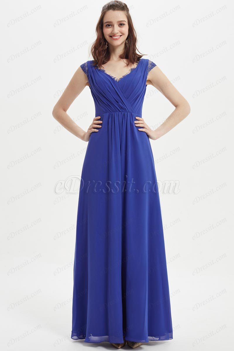 eDressit Blue Sexy V-Cut Lace Cap Sleeves Bridesmaid Dress (07217205)