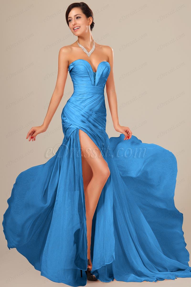 eDressit Robe de Bal Corsage Froncée Bleue (00120505)